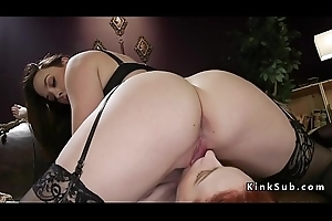 Redhead strap on anal fucked doggy