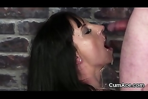 Sexy mess up gets sperm load on her face swallowing all an obstacle load