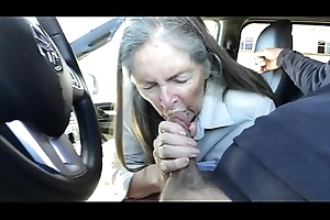 granny blow job in car - cum