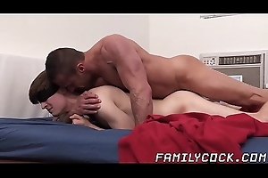 Muscular stepdad barebacks his young and gorgeous stepson