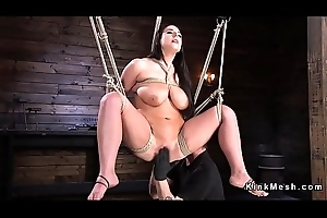 Zooid tits slave gets caned at hand bondage