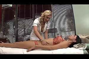 Both client  Jelena Jensen and masseuse Tanya Tate accede to very happy endings to their old hat modern at the spa