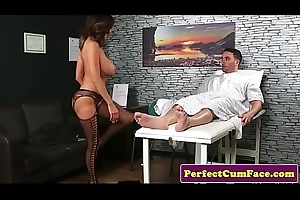 Busty british mature sucking increased by tugging cock