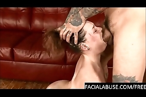 Verge on face fucking deepthroat for slut with daddy issues
