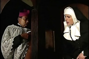 Derisive nun pain in the neck fucked wits a black priest in the confessional