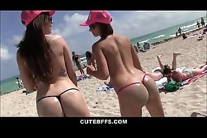Bush-league Hot Teen Best Friends Stripe On Spring Break Record Orgy