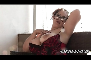 Busty Crazy Maria more than balcony show tits and smoking cigar