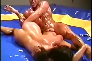Male-Female Hardcore Oil Wrestling 1
