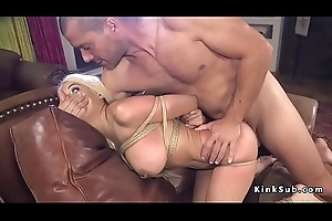 Blindfolded big tits blonde anal fucked