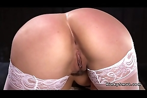 Big ass lackey in stockings anal fucked