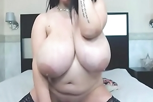 Hot non-specific anent giant boobs masturbated on web camera tease