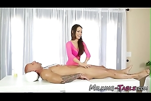 Cute masseuse cum sprayed